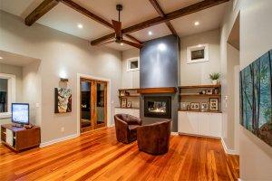 Exposed heart pine beams reclaimed heart pine flooring
